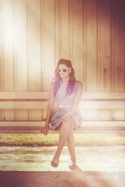 Shelter Photograph - Retro Bus Stop Pin Up Girl by Jorgo Photography - Wall Art Gallery