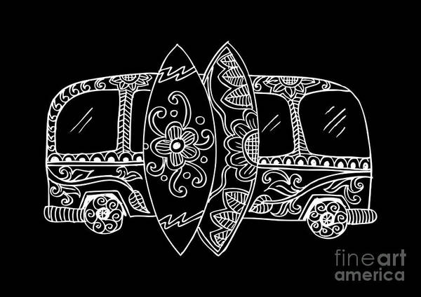 Camper Wall Art - Digital Art - Retro Bus With Surf Boards In Zentangle by Handini atmodiwiryo