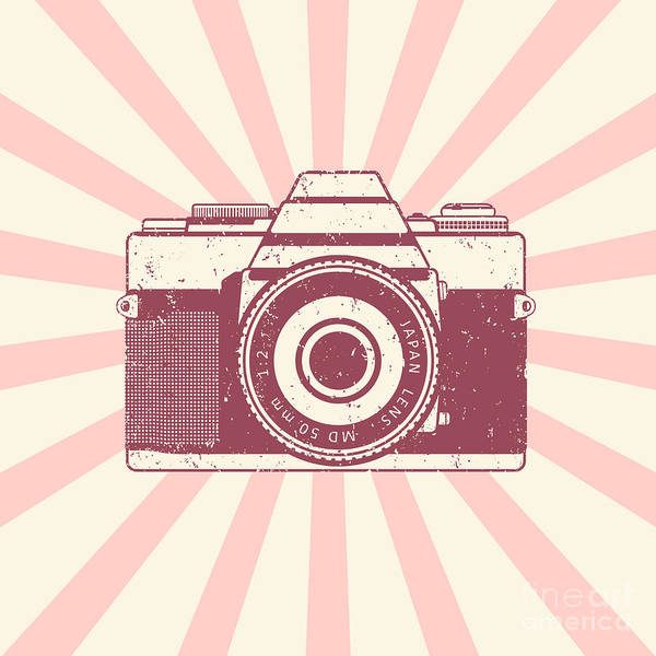 Wall Art - Digital Art - Retro Camera, Vintage Design, Vector by Nexusby