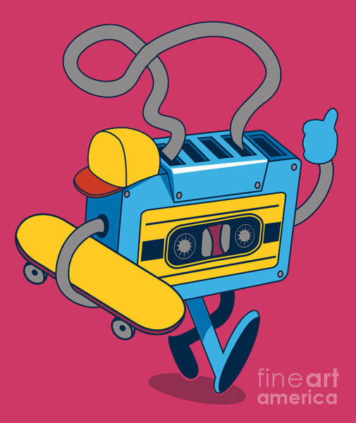 Wall Art - Digital Art - Retro Cassette, Skater Character Design by Braingraph