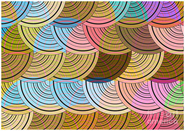 Symmetrical Digital Art - Retro Circles Background by Pizla09