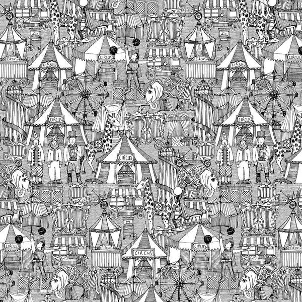 Wall Art - Painting - Retro Circus Black White by MGL Meiklejohn Graphics Licensing