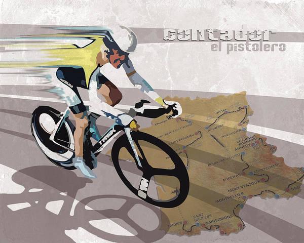 Cycling Painting - Retro Contador Poster El Pistolero by Sassan Filsoof