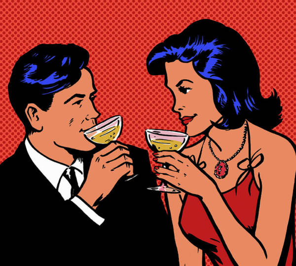 Red Dress Digital Art - Retro Couple Drinking Champagne by Jacquie Boyd