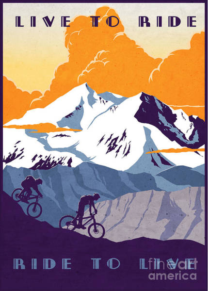 Motivational Painting - retro cycling poster Live to Ride Ride to Live  by Sassan Filsoof