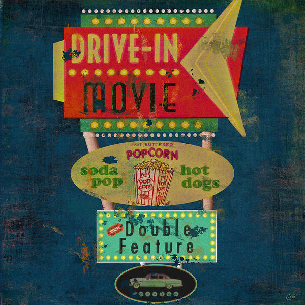 Novelties Painting - Retro Drive-in Movie Sign by Marilu Windvand