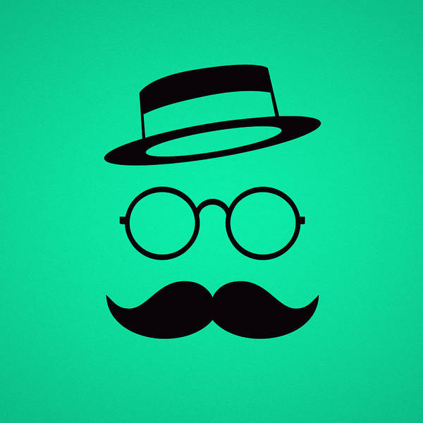 Cool Digital Art - Retro Minimal Vintage Face With Moustache And Glasses by Philipp Rietz