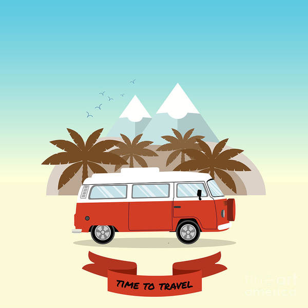 Vintage Poster Digital Art - Retro Minivan With Palm Trees And by Yurgo