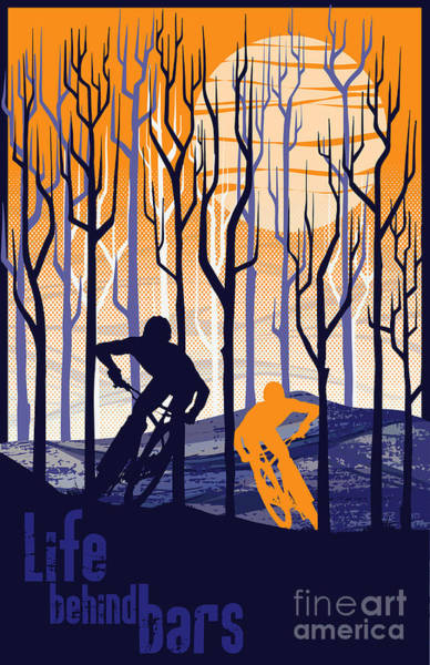 Vintage Poster Wall Art - Painting - Retro Mountain Bike Poster Life Behind Bars by Sassan Filsoof