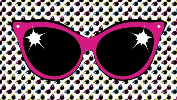 Digital Art - Retro Pink Cat Sunglasses by MM Anderson