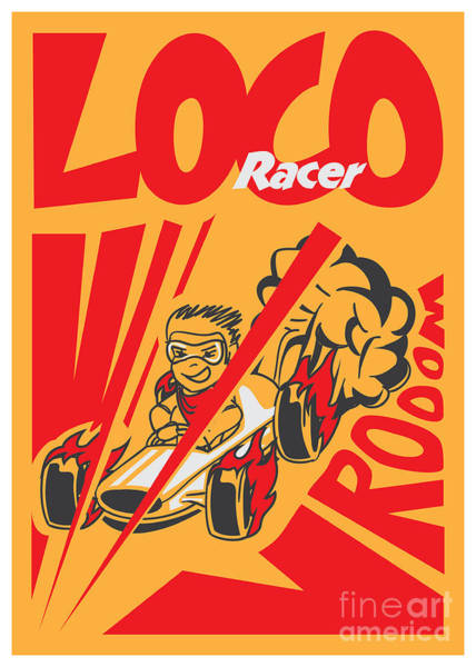 Racer Digital Art - Retro Poster Cartoon Vintage Race Car by Pedro Alexandre Teixeira