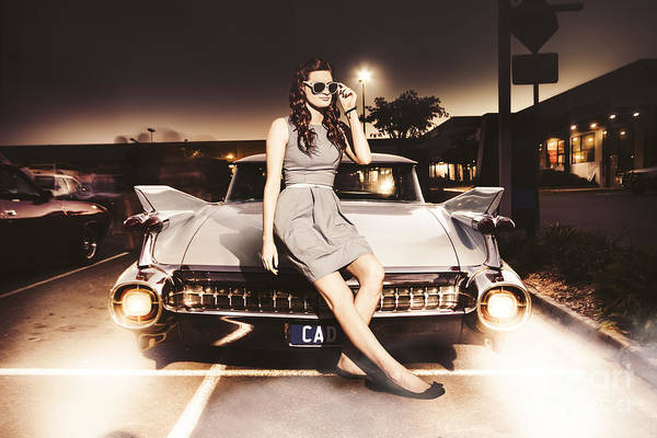 Photograph - Retro Sixties Pinup Girl On Vintage Car by Jorgo Photography - Wall Art Gallery