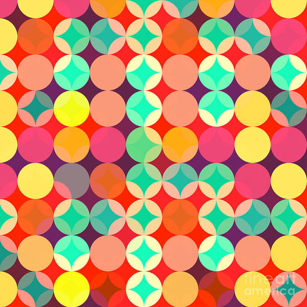 Triangle Digital Art - Retro Style Abstract Colorful Background by Hakki Arslan
