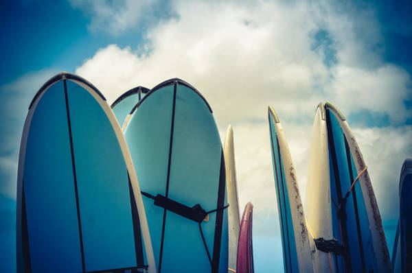 Longboard Photograph - Retro Styled Vintage Surf Boards In Hawaii by Mr Doomits
