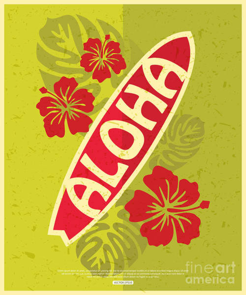 California Beaches Digital Art - Retro Surfing Typographical Poster With by Zakharchenko Anna