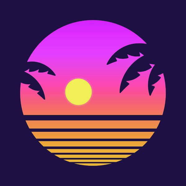 Fashionable Digital Art - Retro Tropical Sunset by Sudowoodo