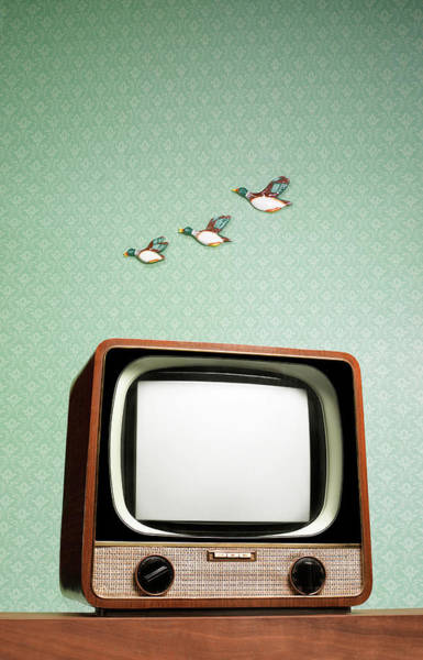 Humor Photograph - Retro Tv With Flying Ducks On The Wall by Peter Dazeley