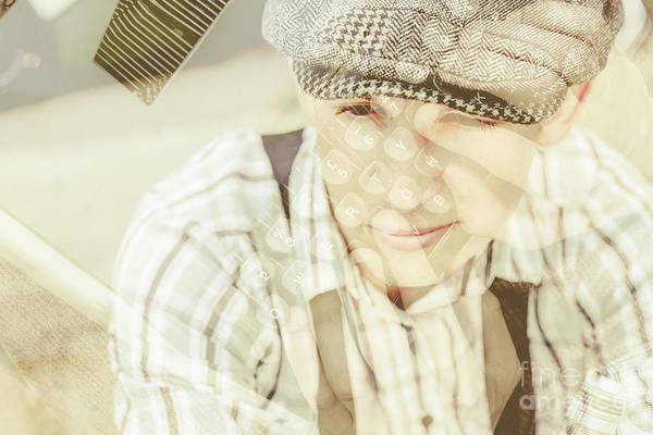 Overlay Photograph - Retro Typist With Dream To Inspire by Jorgo Photography - Wall Art Gallery