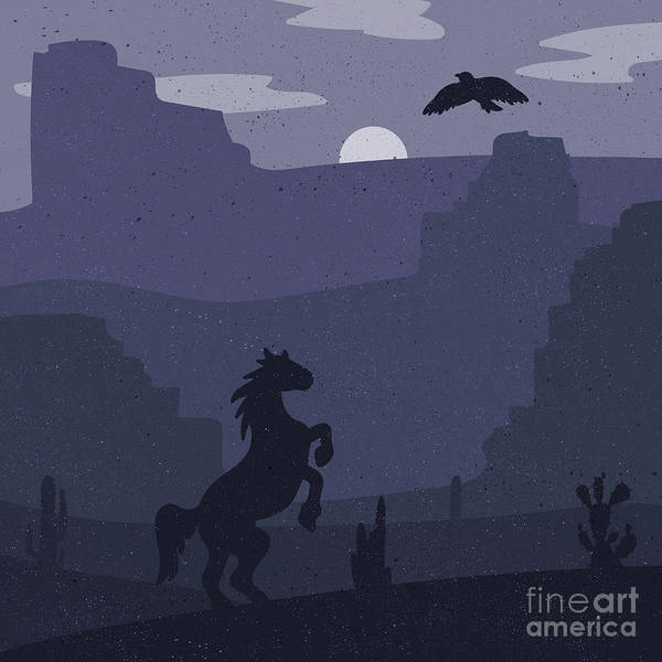 Wall Art - Digital Art - Retro Wild West Galloping Horse In by Barsrsind