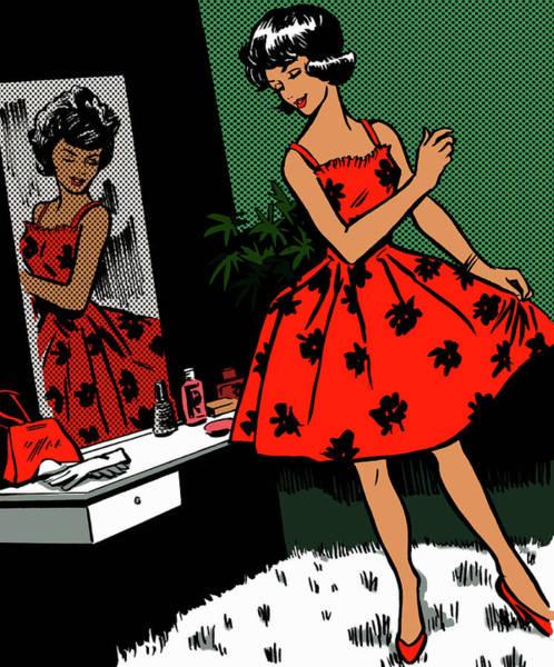 Lifestyles Digital Art - Retro Woman Admiring Dress In Mirror by Jacquie Boyd
