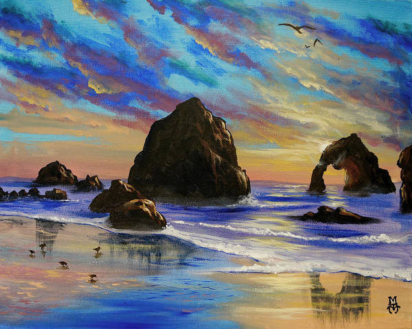 Cannon Beach Painting - Return To The Rocky Coast by Marco Antonio Aguilar