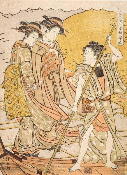 Kimono Painting - Returning Boats At The Beginning by Torii Kiyonaga