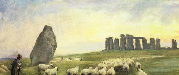 Sheep Rock Wall Art - Painting - Returning Home     Stonehenge by Edgar Barclay
