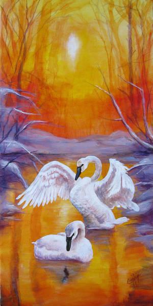 Trumpeter Swan Painting - Returning Swans by Karen Copley