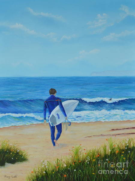 Painting - Returning To The Waves by Mary Scott