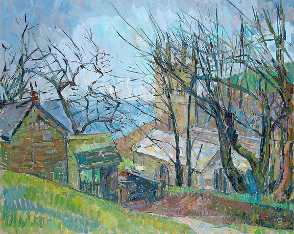 English Countryside Photograph - Reverend Hawkers Church At Morwenstow Oil On Canvas by Erin Townsend