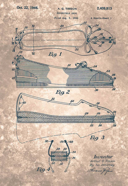 Painting - Reversible Shoe  Patent From 1946 by Celestial Images