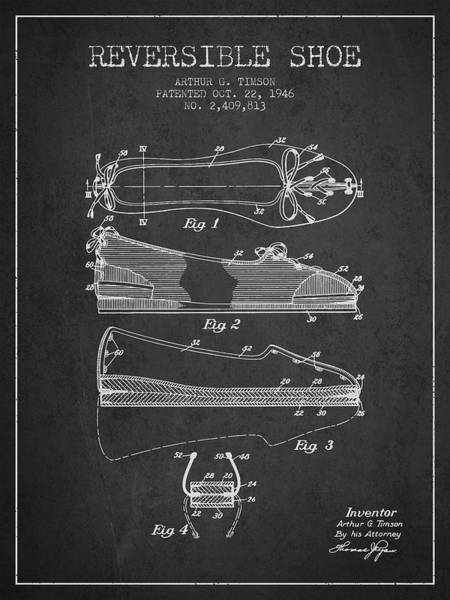 Lace Digital Art - Reversible Shoe Patent From 1946 - Charcoal by Aged Pixel