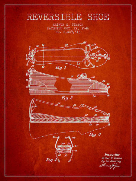 Lace Digital Art - Reversible Shoe Patent From 1946 - Red by Aged Pixel