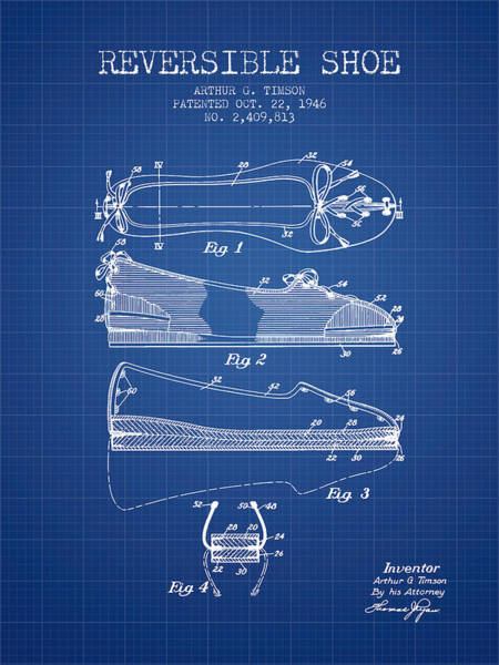 Lace Digital Art - Reversible Shoe Patent From 1946 - Blueprint by Aged Pixel