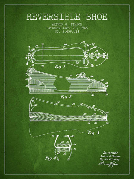 Lace Digital Art - Reversible Shoe Patent From 1946 - Green by Aged Pixel