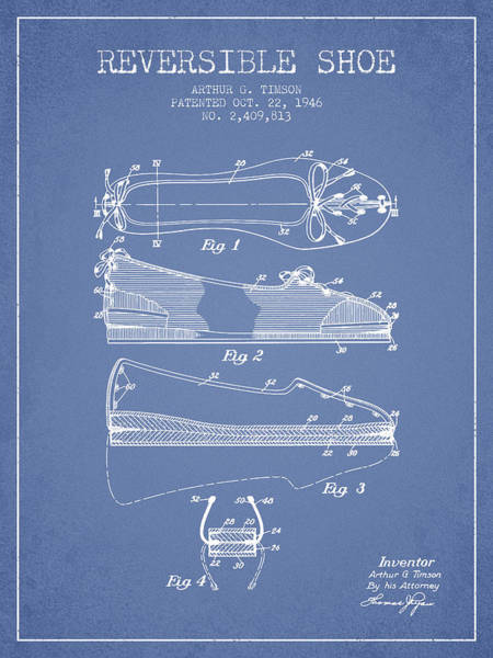 Lace Digital Art - Reversible Shoe Patent From 1946 - Light Blue by Aged Pixel