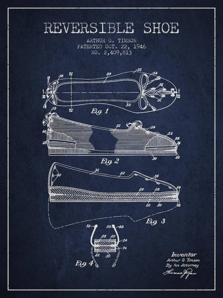 Lace Digital Art - Reversible Shoe Patent From 1946 - Navy Blue by Aged Pixel