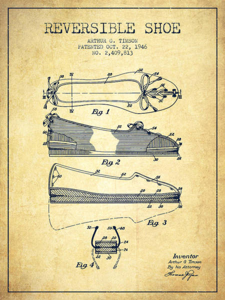Lace Digital Art - Reversible Shoe Patent From 1946 - Vintage by Aged Pixel