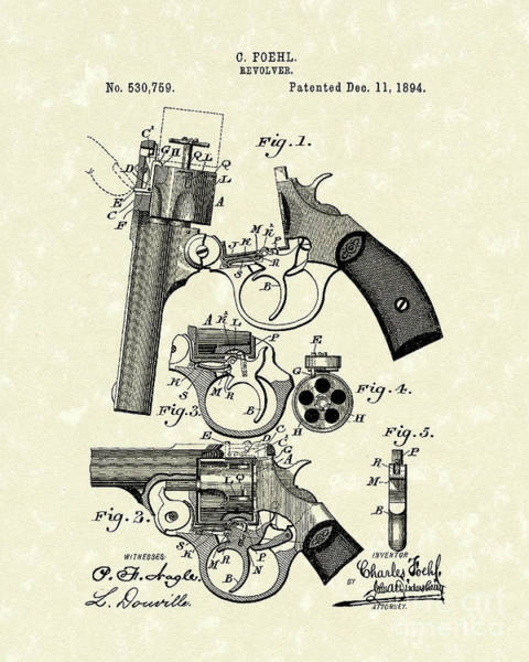 Drawing - Revolver 1894 Patent Art by Prior Art Design