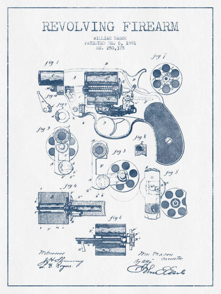 Weapons Digital Art - Revolving Firearm Patent Drawing From 1881 -  Blue Ink by Aged Pixel