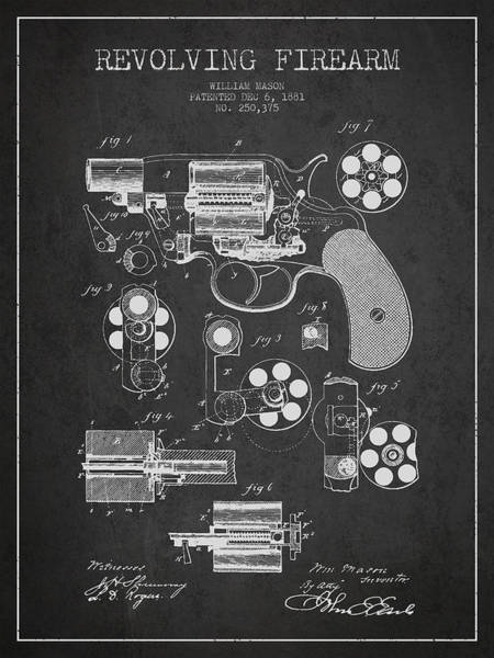 Shooting Digital Art - Revolving Firearm Patent Drawing From 1881 - Dark by Aged Pixel