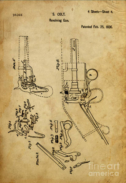 Patent Mixed Media - Revolving Gun Colt - Patented On 1836 by Drawspots Illustrations