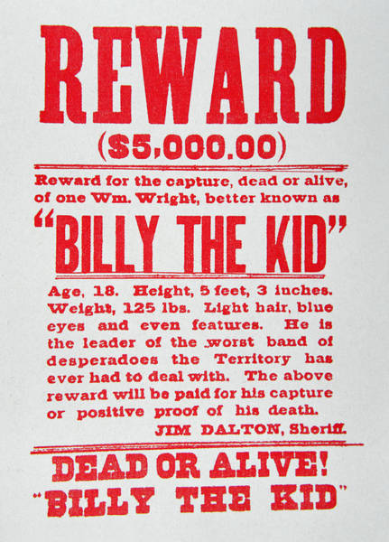 Wall Art - Painting - Reward Poster For Billy The Kid by American School