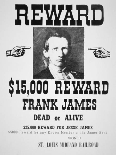 Law School Wall Art - Painting - Reward Poster For Frank James by American School