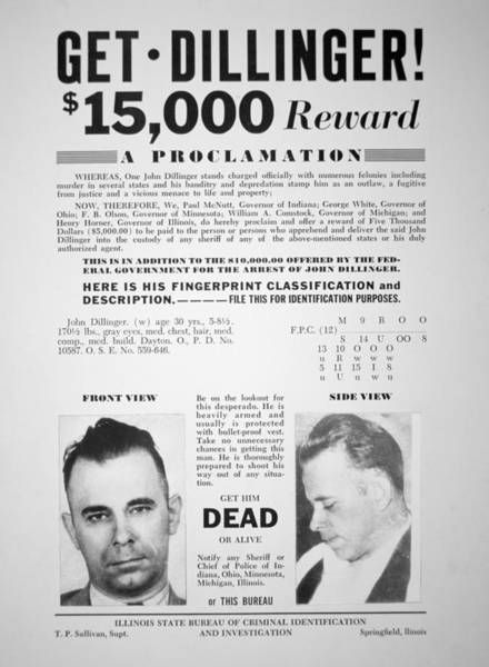 Mugshot Wall Art - Painting - Reward Poster For John Dillinger by American School