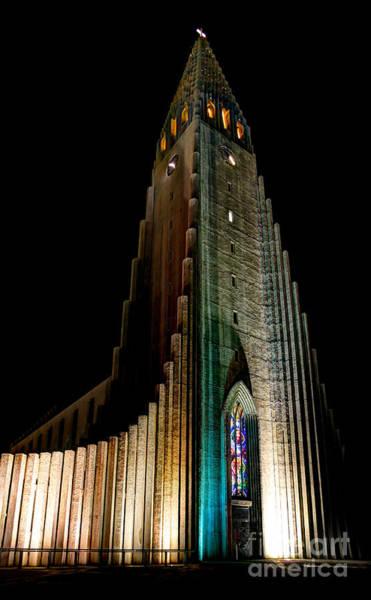 Imposing Wall Art - Photograph - Reykjavik Church At Night by Jasna Buncic