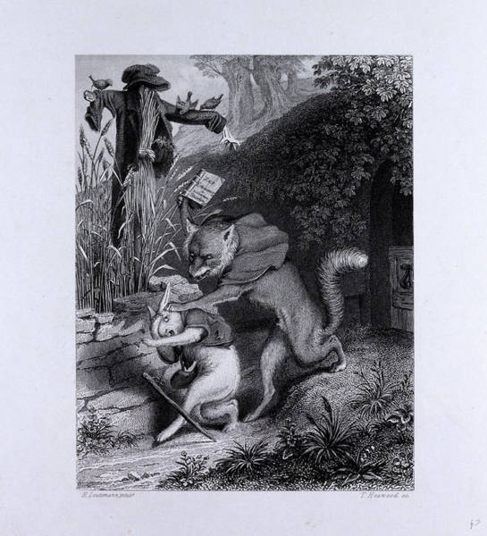 Reynard Wall Art - Drawing - Reynard And The Coney by English School