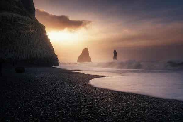 Sunrise Beach Photograph - Reynisfjara Sunrise by Jorge Ruiz Dueso