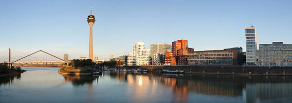 Frank Gehry Photograph - Rheinturm Tower With Neuer Zollhof by Panoramic Images