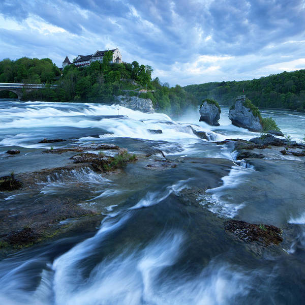 Cloudscape Photograph - Rhine Falls - Europes Largest Waterfall by Visionandimagination.com
